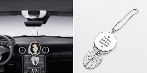 Personalised Car Pendant Angel Wing Mirror Decoration Hanging Charm, your photos