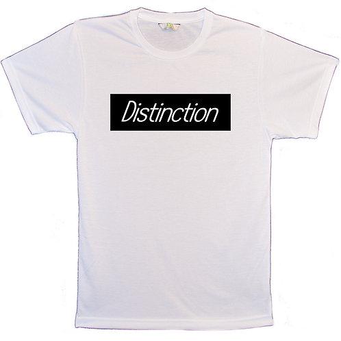 White Round Neck T-Shirt Distinction White Font/Black box