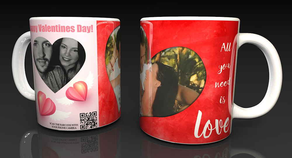 Personalised Valentine's Ceramic Mug with a Hidden QR Code Message