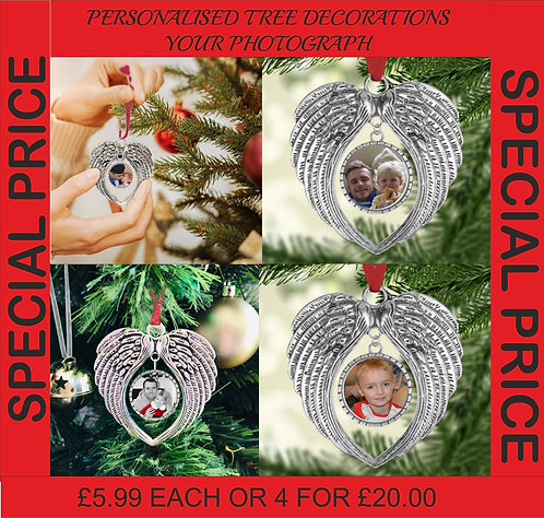 Personalised Angel Wings Tree Decorations, Your Photo or words, Christmas, Gift