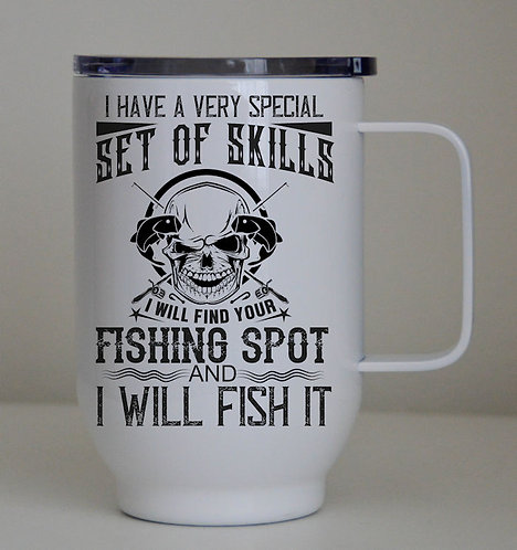 Set of Skills Fishing 17oz/500ml Stainless Steel Coffee Cup with Lid