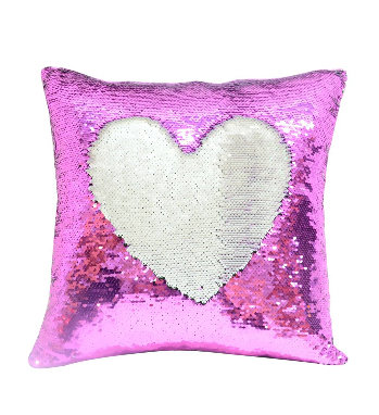 Personalised Hot Pink Sequin Cushion cover and cushion 40 x 40cm