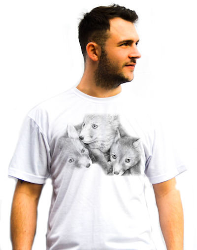 Unisex Three Red Fox Cubs in Black and White T-Shirt
