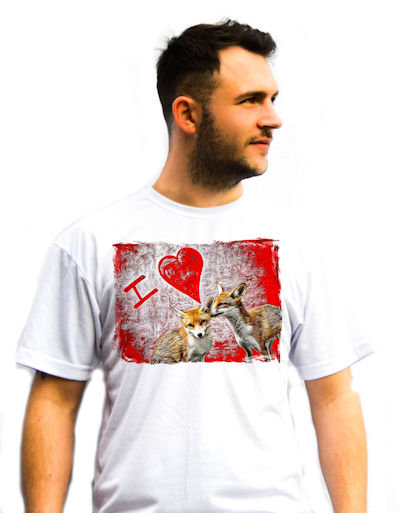 Unisex I Love Foxes T-Shirt with A fox cub grooming another fox cub