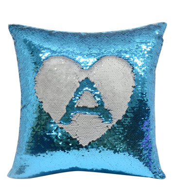 Personalised Blue Sequin Cushion cover and cushion 40 x 40cm