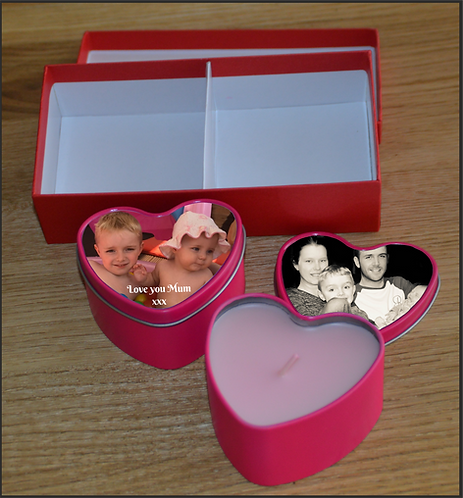 Personalised Christmas Day Love Heart Tins and Scented Candles