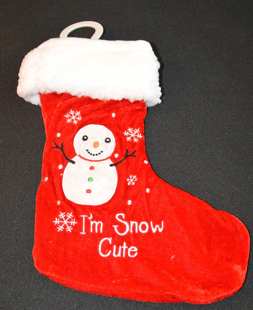 Baby Christmas Stocking with Snowman and Embroidered 'I'm Snow Cute'