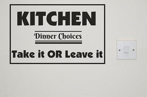 Vinyl Kitchen Signs
