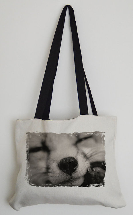 Canvas Effect Tote bag with black handles and a Red Fox Photo in Black & White