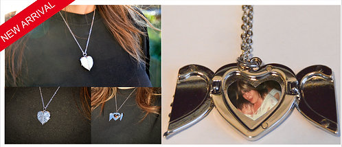 Personalised Angel Wings Locket necklace, Xmas Gift, Memorial, Love, your photo