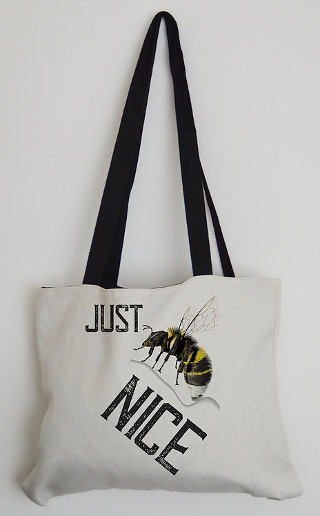 Canvas Effect Tote bag with black handles Just 'Bee' Nice
