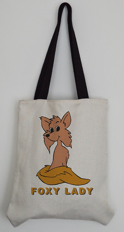 Foxy Lady Canvas Effect Tote bag with black handles