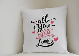 Personalised Little Gift Shop | Personalised ALL YOU NEED IS LOVE Cushion Cover | Personalised Gifts