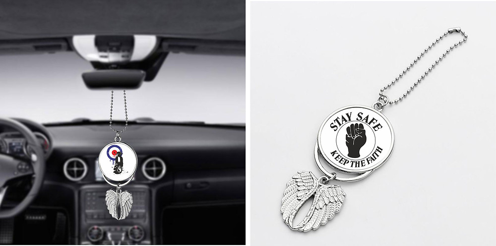 Northern Soul Car Pendant, Keep The Faith Fist and a Scooter Image