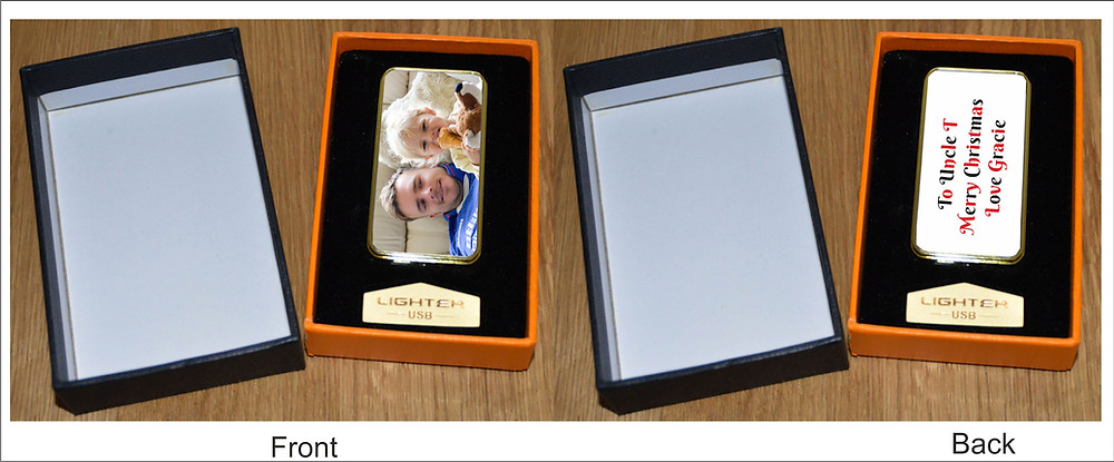 Personalised Electric Lighters can feature your words, photographs, drawings, favourite pattern etc. You can have one photo on one side of the lighter and another on the other side. You can either have full colour or black and white, or a combination of the both, it really is down to your personal choice what you would like printed on the personalised item. You can have one side as a photo and the other as words ie Best Dad, Best Mum, or a name or choose to have both sides printed with photographs.