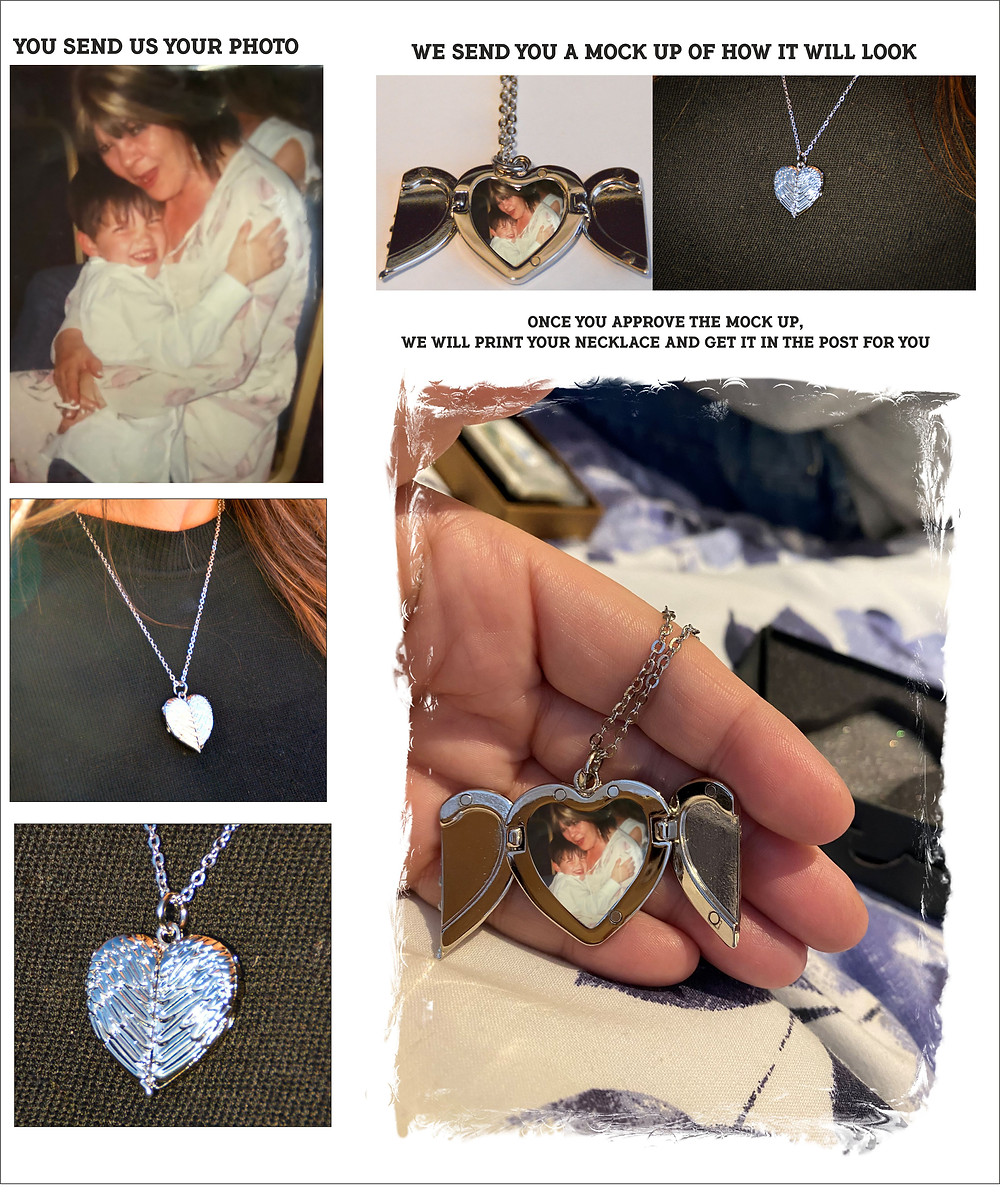 Personalised Angel Wings Heart Necklace great Memorial Gift Idea