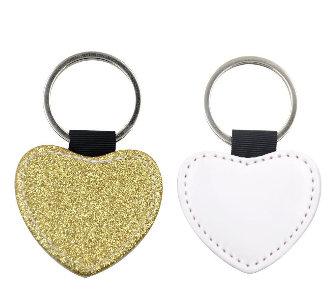 Personalised Heart Glitter - PU Leather Keyrings