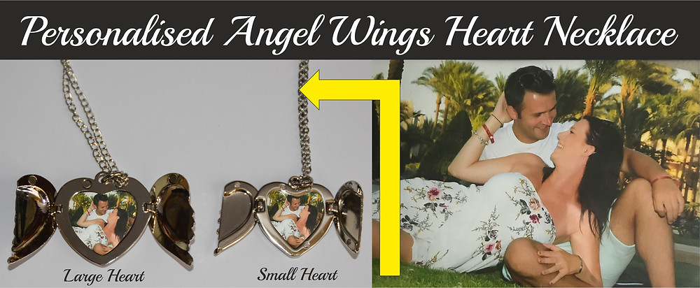 Personalised Angel Wings Heart Locket Necklace