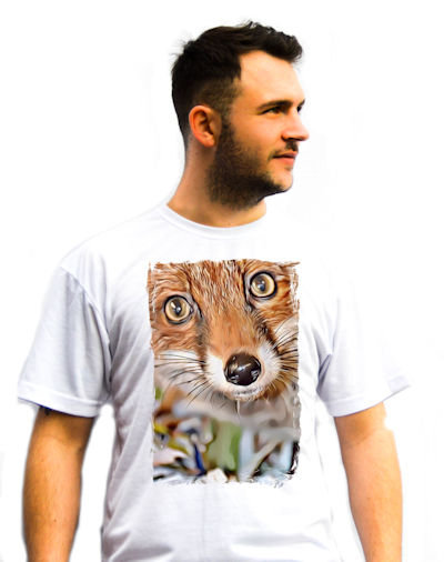 Unisex Red Fox Cartoon Painting T-Shirt