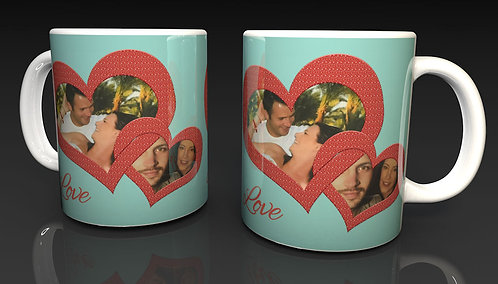 Valentine's Day Personalised Ceramic Mug design 4 using two of Your Photographs