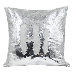 Personalised Silver Sequin Cushion cover and cushion 40 x 40cm