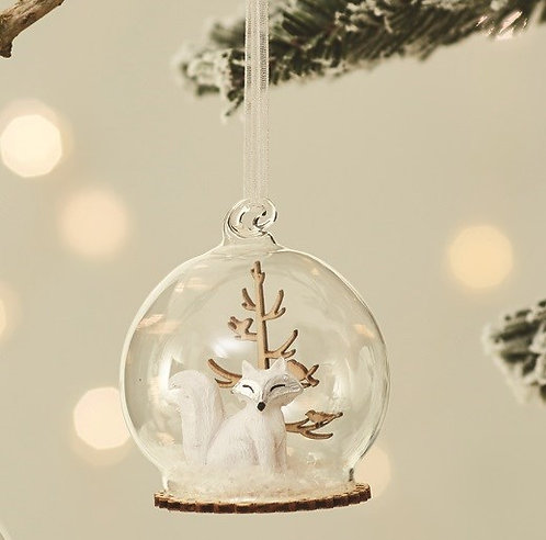 WINTER FOREST FOX DOME Christmas BAUBLE