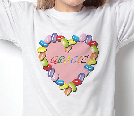 Personalised Unisex Children's T-Shirts, Jelly Bean Heart