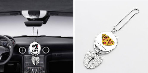 Personalised Fathers Day Car Pendant Angel Wing Mirror Decoration Hanging Charm,