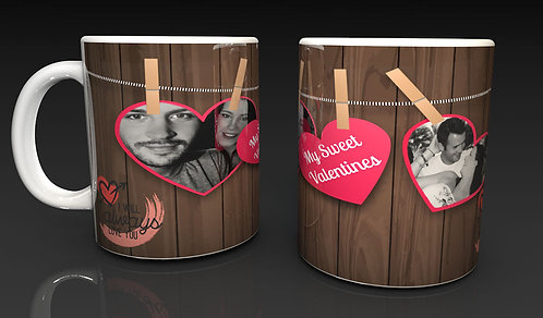 Valentine's Day Personalised  Ceramic Mug, Heart Pegs, Using two of Your Photo's