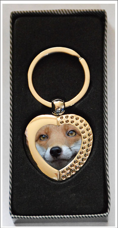 Red Fox Heart Keyring, great for the fox fan