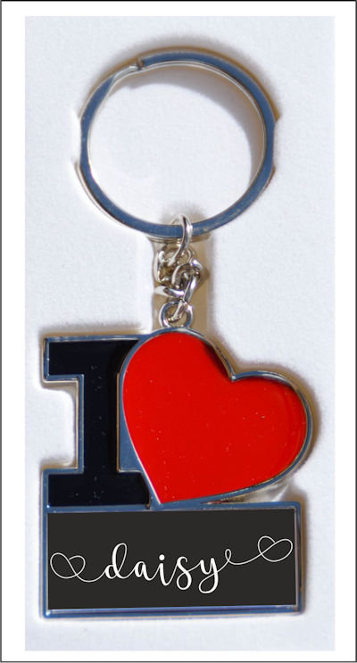 Personalised I Love Keyrings You can just add the name you want printed.