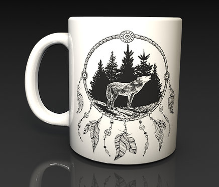 Howling Wolf in a Dream Catcher Ceramic Dishwasher Safe Mug