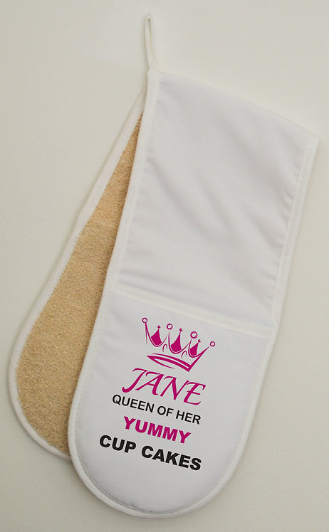 Double Oven Gloves mitts Personalised with your words, great gift idea