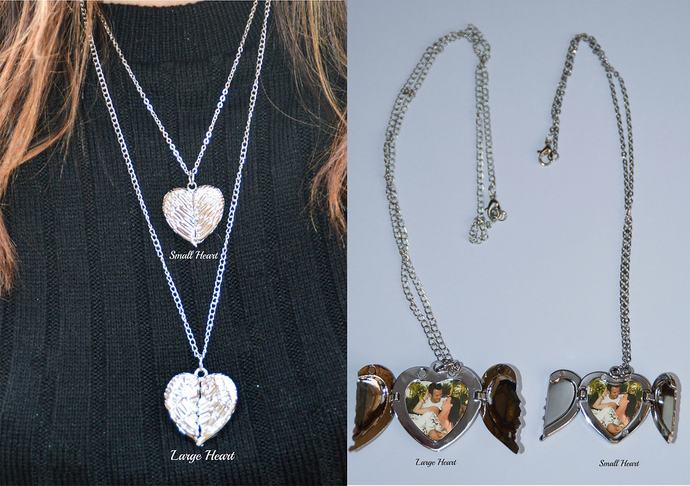 Personalised Angel Wings Necklace, Angel Wings Locket, Heart Shaped necklace, your photo