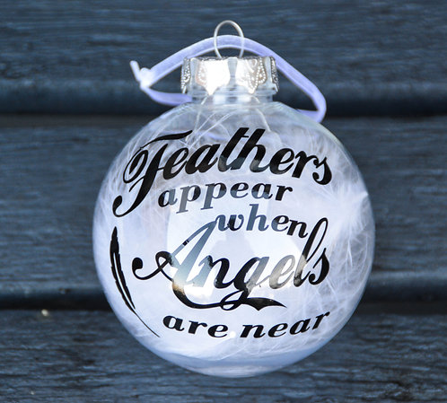 Personalised Christmas tree Baubles Feathers Appear When Angels are Near