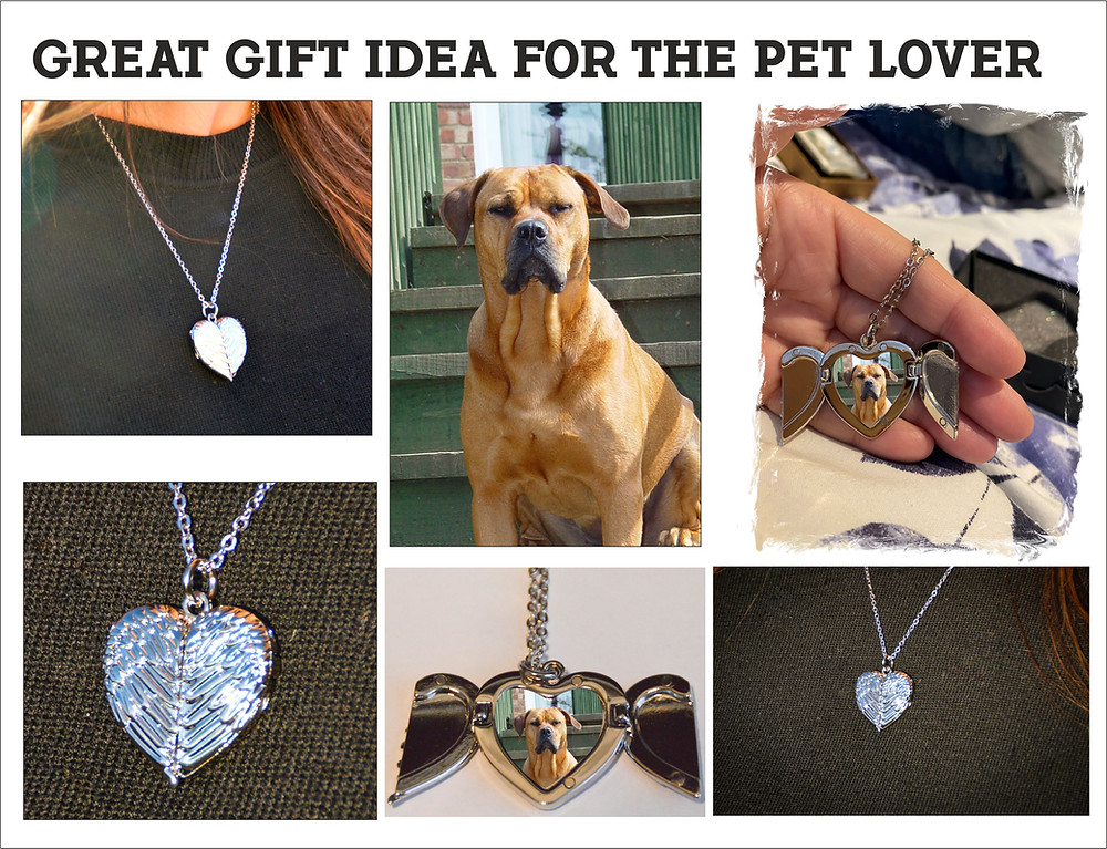 Personalised Angel Wings Heart locket, can feature your dogs photograph