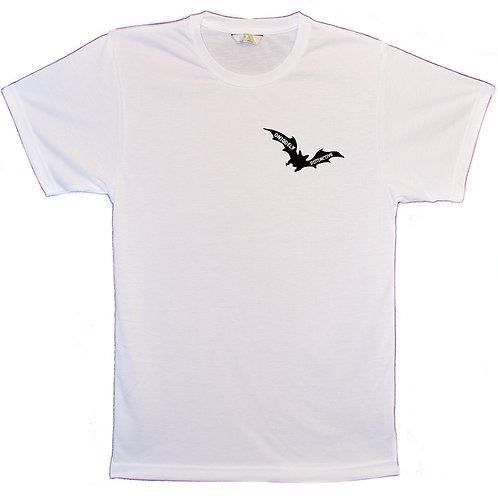 White T-Shirt with Uniquely Distinctive Bat logo