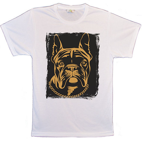 White T-Shirt with A Dog's Face