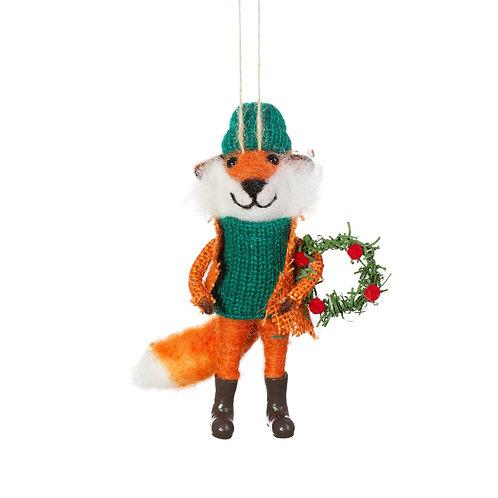 FOX WITH WREATH FELT DECORATION Christmas Tree Decoration