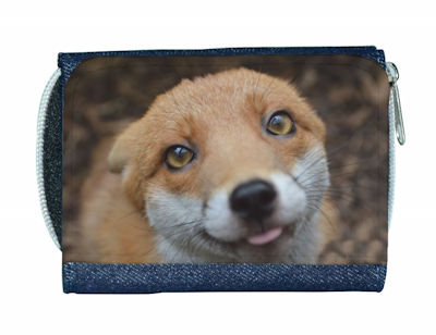 Ladies Denim Red Fox Purse