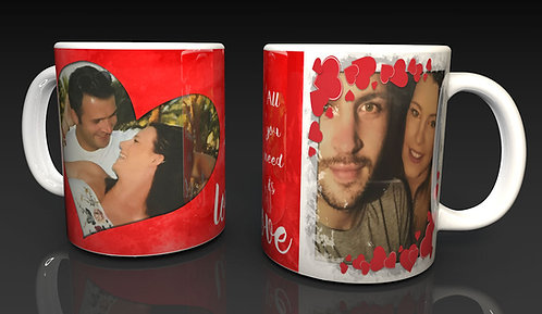 Valentine's Day Personalised Ceramic Mug, using two of Your Photographs