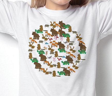 Unisex Children's T-Shirts Animal Circle
