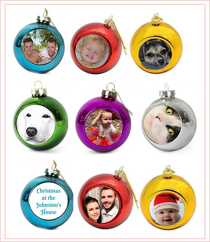 Personalised Photo Christmas Baubles 4 for £20