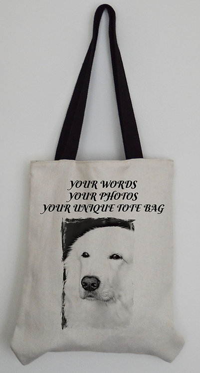Personalised Canvas Effect Tote bag with black handles
