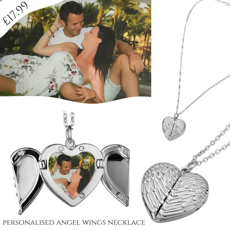 Personalised Angel Wings Heart Locket Necklace, personalised with your photograph