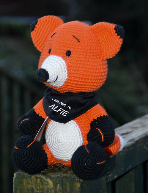 Fox with Personalised Bandana any name and 3 colours of bandana to choose from