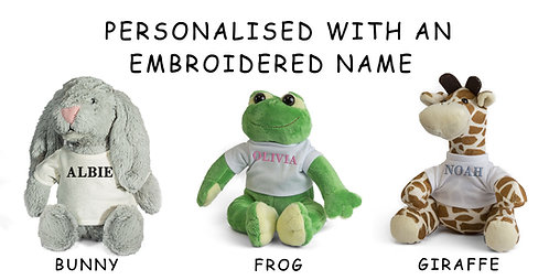 Personalised Embroidered Name on these plush toys. Giraffe, Frog or Rabbit