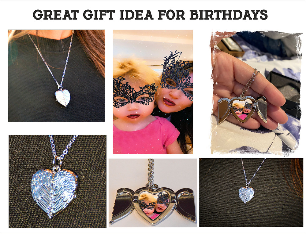 Angel Wings Heart Necklace, personalised with your photograph