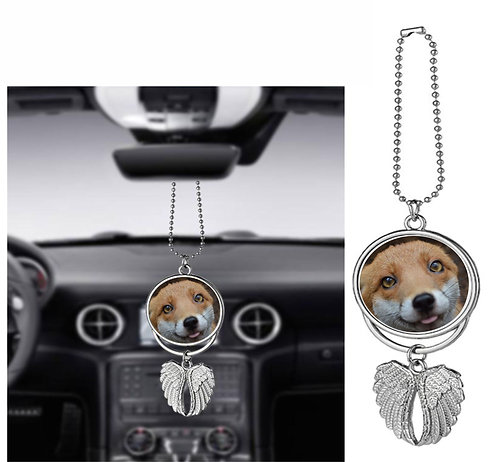 Angel Wings Fox Car Pendants with a choice of Red Fox Image