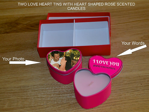 Personalised Love Heart Tins and Scented Candles